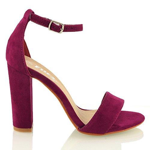 Essex Glam Sintético Sandalias de punta abierta con tira al tobillo y tacón cuadrado Beige Gamuza Sintética