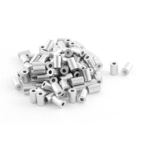 uxcell 100pcs Aluminum Cable Stops Sleeve for 1mm Wire Rope Swage Clip