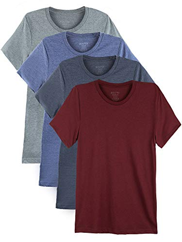Bolter 4 Pack Men's Everyday Cotton Blend Short Sleeve T-Shirt (XXXX-Large, H.Car/H.Roy/H.NVY/H.Slt)
