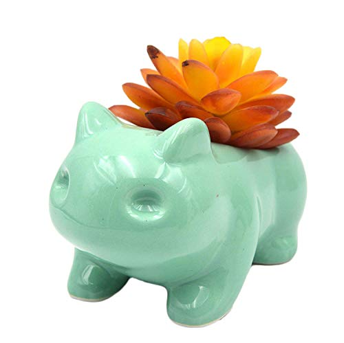 Ceramic Bulbasaur Flowerpot Planter Pot Home Decorative DIY Painting Art Vase(Green)