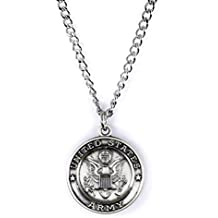 Sterling Silver Saint Christopher Protect Me Military Medal, 3/4 Inch