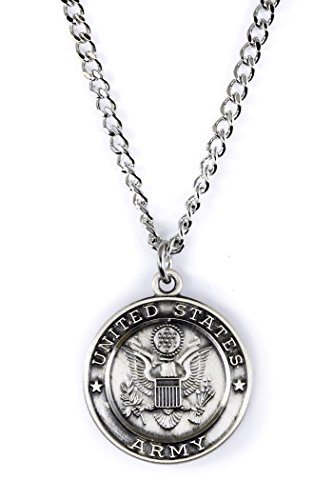 Military Medals Sterling Silver Saint Christopher Protect Me, 3/4 Inch (US Army)