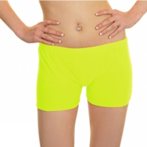 Lycra Fluo Pantaloni Giallo UV in donna Danza Casual stile da Neon Pantaloncini 5Tqvw
