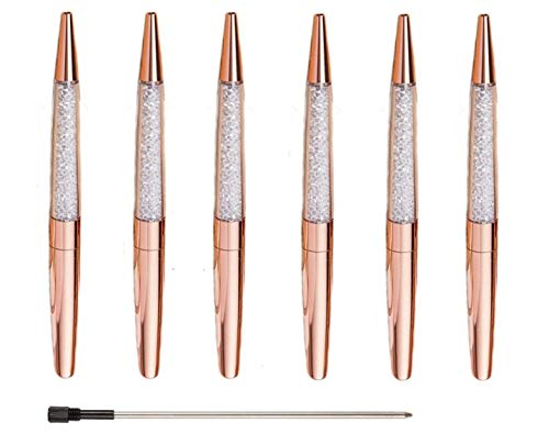 Ubabe Rose Gold Pen Bling Diamond Pens Fine Black Ink Pen-6 Pack and 6 Extra Refills (Rose Gold Metal Pen 6 Pack) -