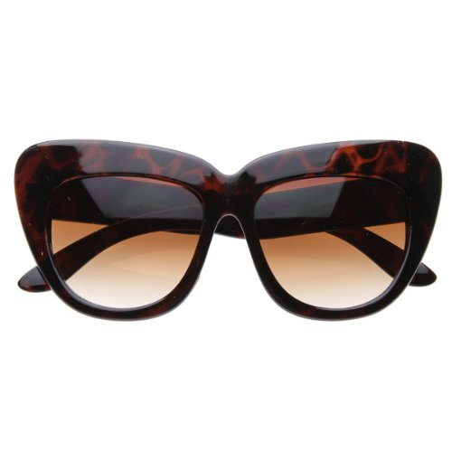 zeroUV - Oversized High Fashion Designer Inspired Bold Cat Eye Sunglasses Cateyes (Tortoise - Best Eye Sunglasses Designer Cat