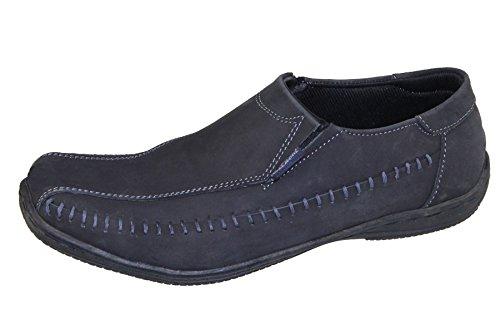 Mens Slip on Boat Deck Mocassin Walking Comfort Loafers Driving Casual Shoes Nubuck Black K0ZUP9CD