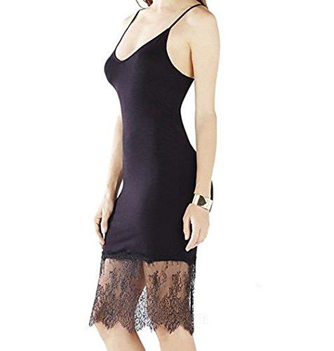 Moxeay Spaghetti Strap Lace Tank Top Camisole Dress Tunic (X-Large, Black)
