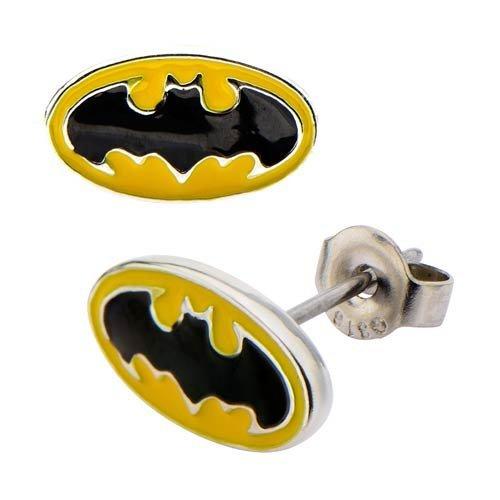 Body Vibe Batman Logo Steel Stud Earrings (Batman Earrings For Men)