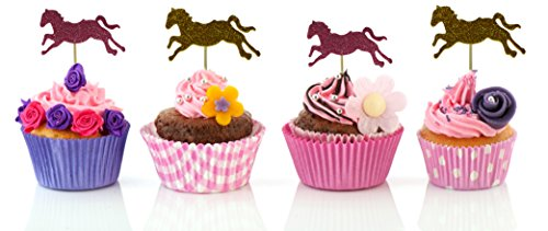 40 Horse Cupcake Toppers- Glitter Gold and Pink Decorative Food Picks