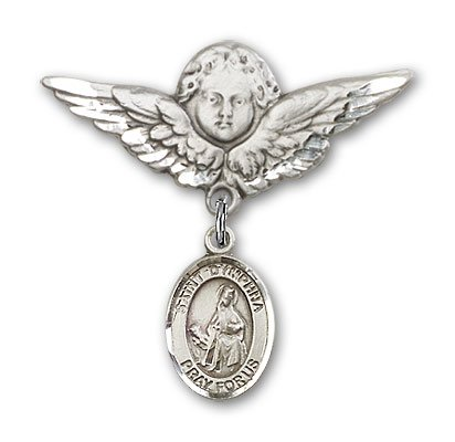 ReligiousObsession's Sterling Silver Baby Badge with St. Dymphna Charm and Angel with Wings Badge Pin Relious Obsession Jewels Obsession Jewels-9032SS/0733SS