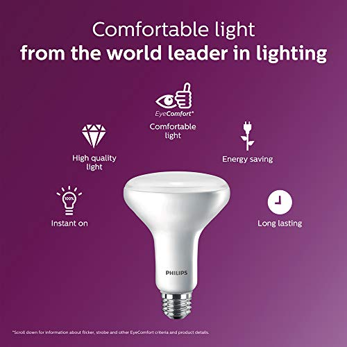 Philips LED 474312 BR30 Dimmable 650-Lumen, 2700-Kelvin, 11 (65-Watt Equivalent) Flood Light Bulb with E26 Medium Base, Soft White, 12-Pack, Piece