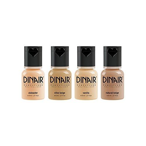 (Dinair Airbrush Makeup Foundation | 4pc Camouflage Neutralizer Set | Fair Shades | Covers Scars, Acne, Tattoos, Under Eye Circles, Sun Spots,)