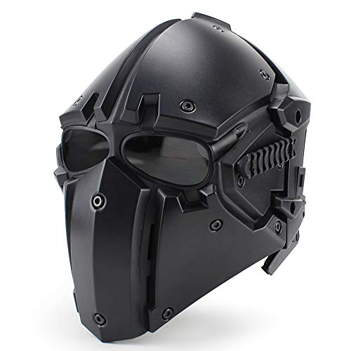 QZY Outdoor Tactical Airsoft Helmet Mask Goggle Full Face Protective Casque,Hunting Paintball Motorcycle Cycling Safety,Black]()