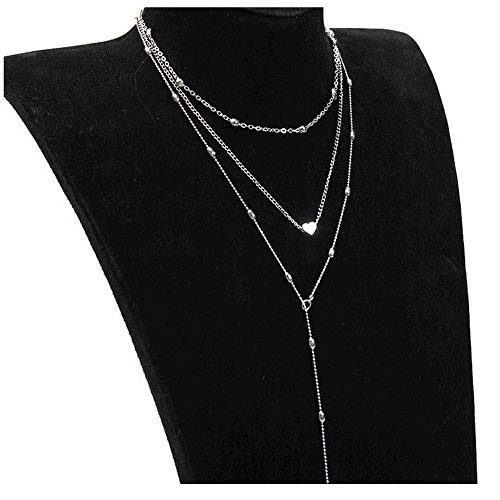 ecklace ღBest Gift for Women Three Layers Jewelry Pendant Choker Dainty Chain ()