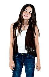 Girls Suede Fringe Vest, Black