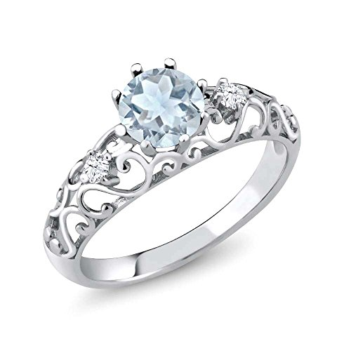 Gem Stone King Sky Blue Aquamarine 925 Sterling Silver Women's Ring (0.83 Ct Round Cut) (Size 7) (March Birthstone Promise Ring)