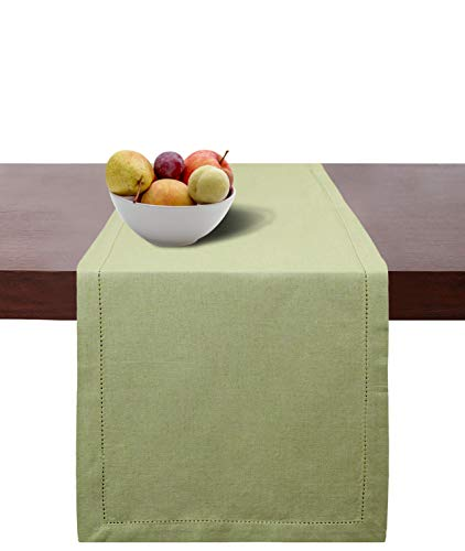 Green Rustic Dining Table - Cotton Clinic Hemstitch Farmhouse Table Runner 108 Inches, 16x108 Cotton Wedding Table Runner, Rustic Bridal Shower Decor Dining Table Runner with Mitered Corners & Generous Hem, Sage Green