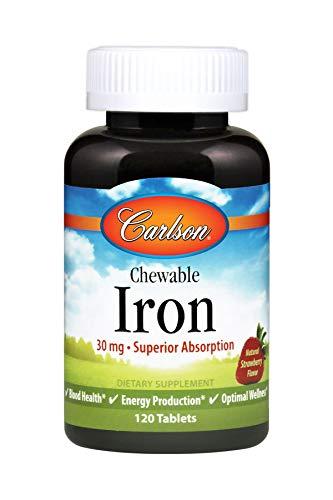 Carlson Chewable Iron, 30 mg, Strawberry, Superior Absorptio