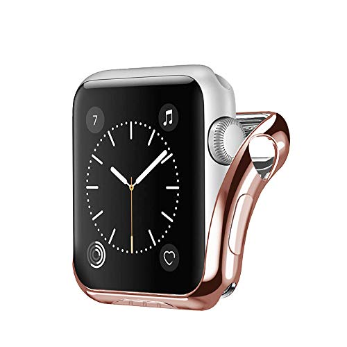 Cywulin Compatible with Apple Watch Case 38mm 42mm, iWatch Series 3 2 1 All Around Thin Rugged Armor TPU Bumper Protective Shock Proof Scratch Resistant Flexible Protector Cover (42mm, Rose Gold)