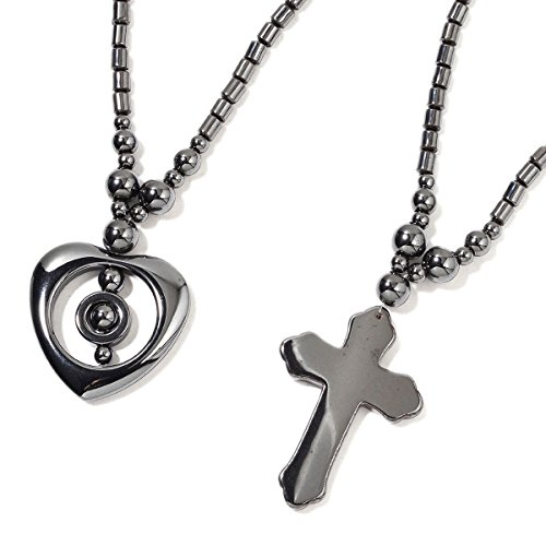 Shop LC Delivering Joy Set of 3 Hematite Dark Silvertone Love Heart Valentines Cross Chain Pendant Necklace for Women Jewelry Gift 20