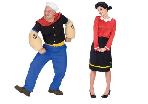 Popeye & Olive Oyl Sm Adult Couples Costume Set