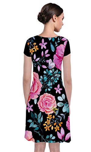 Womens Short Dark Floral Sleeve CowCow Dress Wrap Front Floral 2 Paisley dtw6F