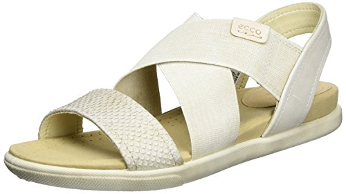 (ECCO Women's Damara 2-Strap Flat Sandal, beige, Moon Rock/Gravel/Powder, 39 EU/8-8.5 M)