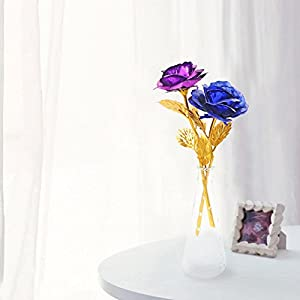 ALLOMN Rose 24K Gold Plated Rose Flower Best Gift for Valentine's day Mother's day Christmas Birthday with Gift Box Golden/Red/Purple/Blue 2