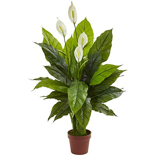 """Nearly Natural 42"""" Spathiphyllum Artificial (Real Touch) Silk Plants Green"""
