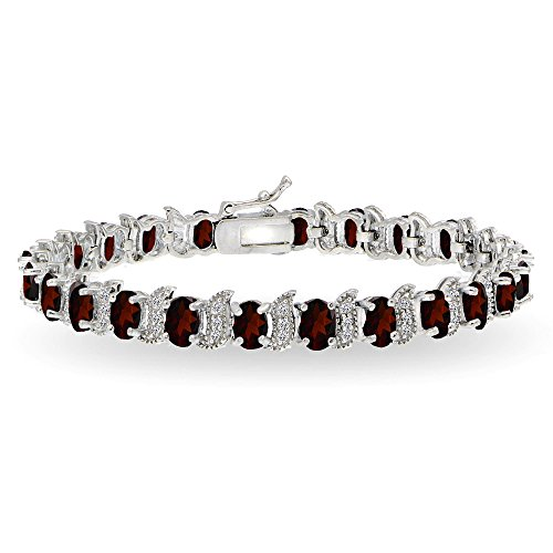 Garnet Necklace Bracelet Earring (Sterling Silver Garnet 6x4mm Oval and S Tennis Bracelet with White Topaz Accents)