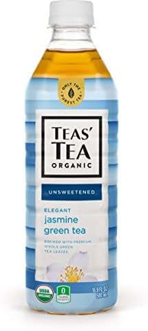 Teas' Tea Unsweetened Jasmine Green Tea 16.9 Ounce (Pack of 12) Organic Zero Calories No Sugars No Artificial Sweeteners Antioxidant Rich High in Vitamin C
