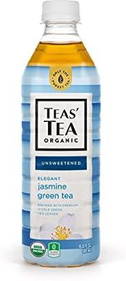 Teas' Tea Unsweetened Jasmine Green Tea 16.9 Ounce (Pack of 12) Organic, Sugar Free, 0 Calo