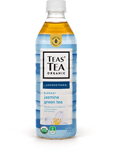 Teas' Tea Unsweetened Jasmine Green Tea, 16.9 Ounce (Pack of 12), Organic, Zero Calories, No Sugars, No Artificial Sweeteners, Antioxidant Rich, High in Vitamin C (Green Tea Vitamins)