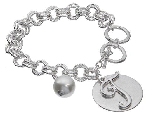 Jewelry Nexus T Monogram Silver-Tone Overlay Medallion Bracelet Imitation Pearl & Toggle Closure