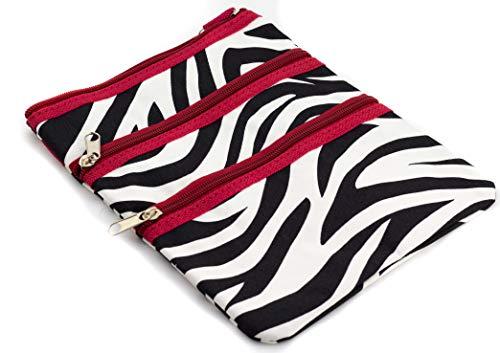 9 inch Teen Messenger Bag | Shoulder Bag | Swingpack Purse | Cross Body Bag by Unique Traveler (Zebra Print-Red Trim)