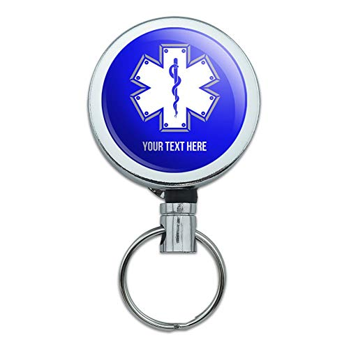 (Personalized Custom 1 Line Star of Life EMT RN MD Heavy Duty Metal Retractable Reel ID Badge Key Card Tag Holder with Belt Clip)