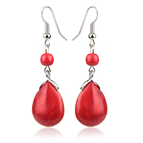 (Vintage Red Drop Stone Bead Fringe Dangle Earrings For Women Girls Alloy)