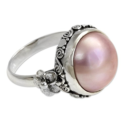 NOVICA Dyed Pink Cultured Mabe Pearl .925 Sterling Silver Flower Ring, Love Moon