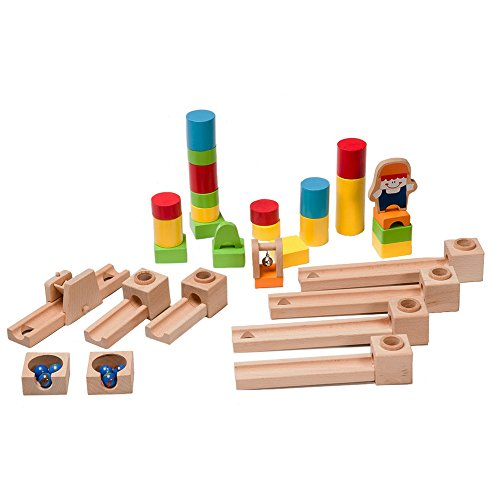 BooKid Durable Wooden Marble Run Toys for Toddlers 40 Marble Track Pieces by Bookid Toys (Image #3)
