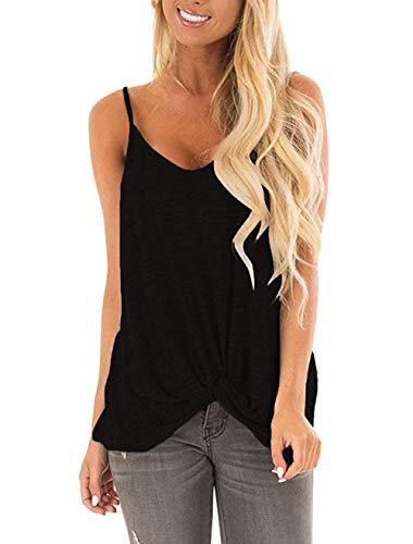 Barlver Sexy V Neck Tank Tops for Women Twist Knot Shirt Plain Camisole Sleeveless Tunic Blouse (New-Black, Medium)