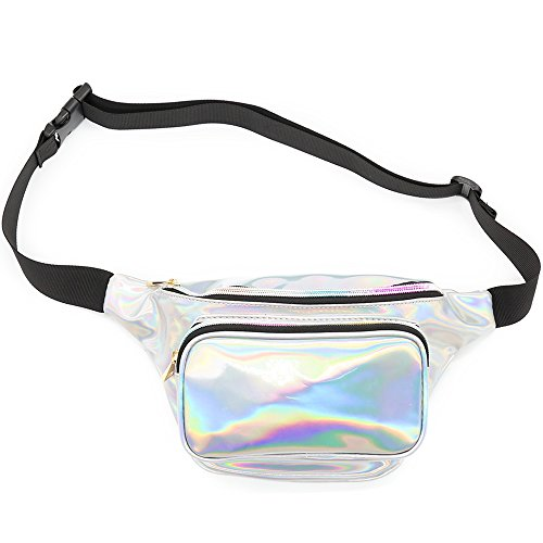 Morlsen Waist Bag Fashion Fanny Packs for Women Waist Pack Holographic Shiny Fanny Pack Bum Bag with Adjustable Belt for Rave, Festival, Travel, Party Bum Bag for Women, Girls, Kids (Silver)