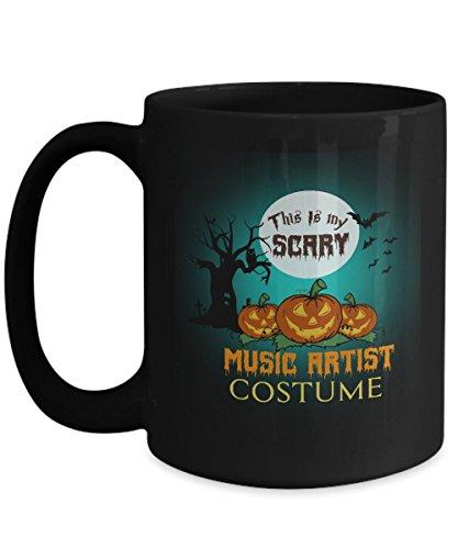 Music Artist Costume Black Coffee Mug 15oz Halloween-This Is My Scary Music Artist Costume For Yourself, Colleague Who Are Music Artist Costume On Halloween