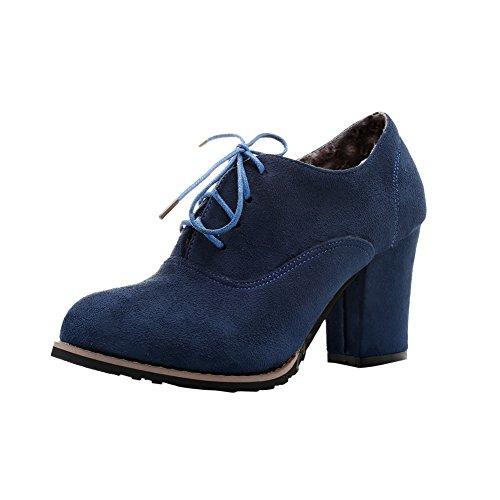 MissSaSa Damen simpel Chunky high-heel geschlossen runde Spitze Pumps mit Schnürsenkel Blau