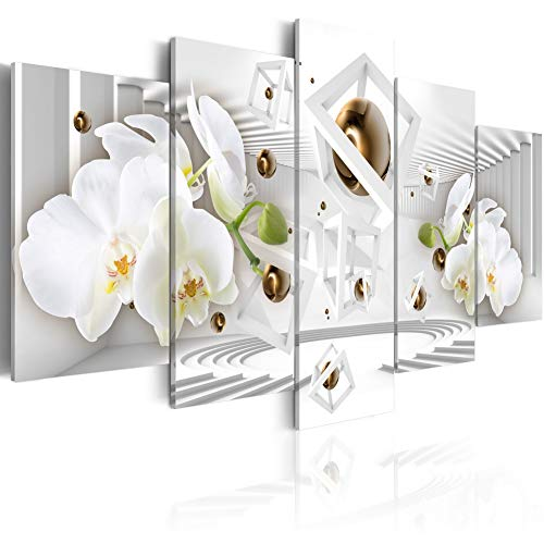 (Melpa Art Temple of White Modern Canvas Wall Art Abstract Floral Painting 5 Panel Framed Flower Picture Print Artwork for Office (W60 x H30))