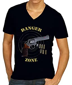 Men A13 V-Neck Print T-Shirt: Danger Zone 123 Schwarz Gr: XXL