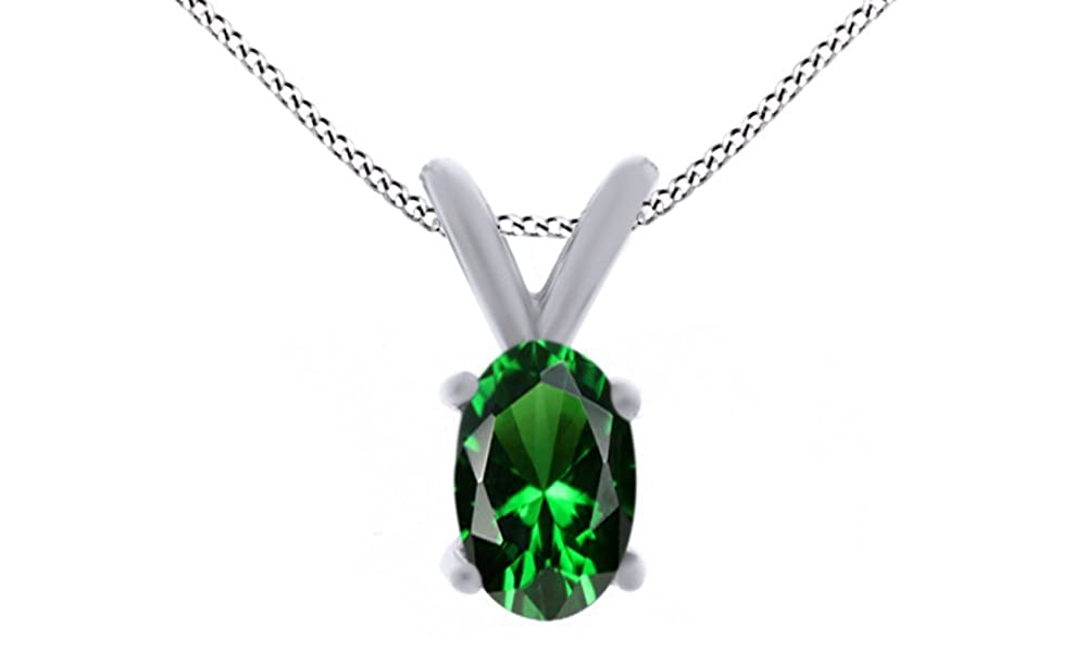 1.5 Ct Jewel Zone US Oval Shape Simulated Green Emerald Pendant Necklace in 14k Gold Over Sterling Silver