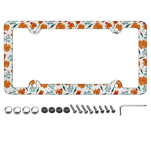 Heart Wolf California Poppy Orange White License Plate Frame Plate Frame License Plate Frame for Women (Vintage Poppy Plates)