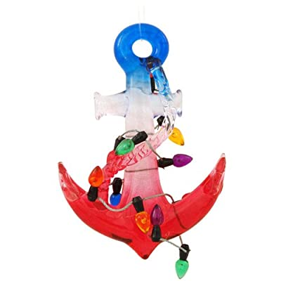 Nautical Christmas Ornament Anchor with Holiday Lights (Decor Only, They Do Not Light Up) 3.5""