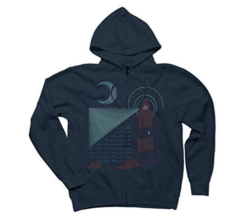 Night Sky Geometry Women's Medium Navy Graphic Zip Hoodie - Design By Humans (Zip Sweatshirt Rock Star)