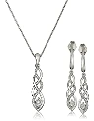 Sterling Silver Diamond Twist Earrings and Pendant Necklace Box Set (1/ 5 cttw)